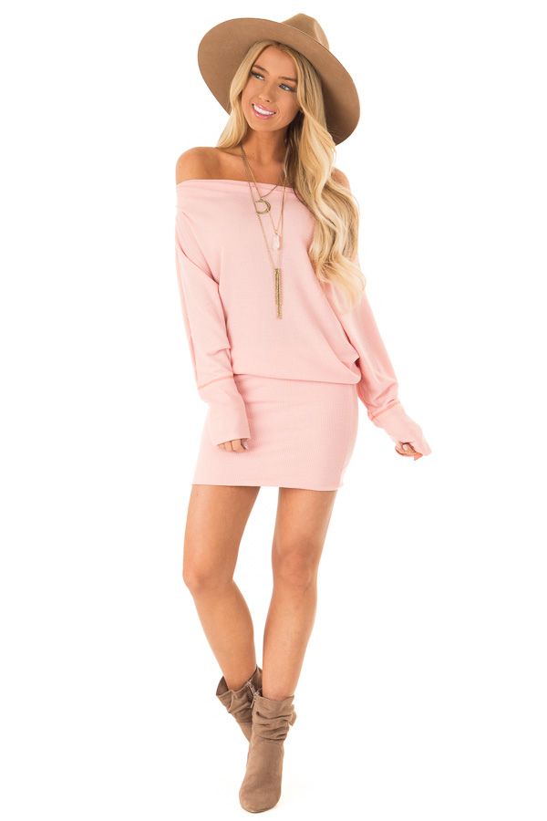Baby Pink Off the Shoulder Long Dolman Sleeve Dress front full body