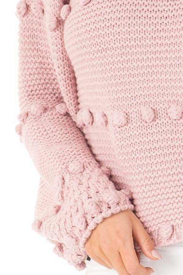 Dusty Rose Long Sleeve Sweater with Pom Pom Details detail