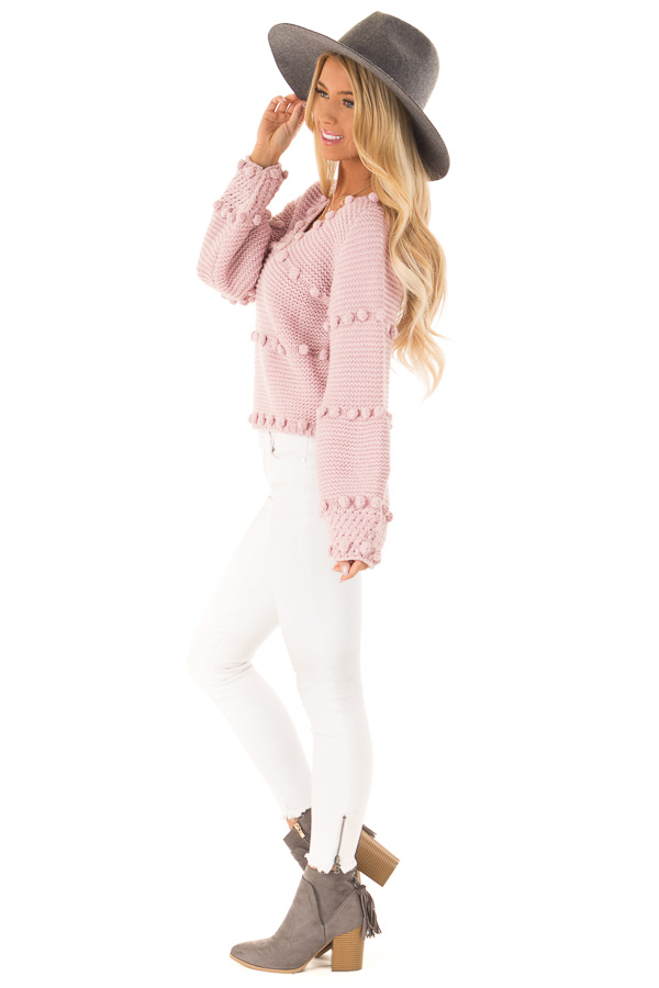 Dusty Rose Long Sleeve Sweater with Pom Pom Details side full body