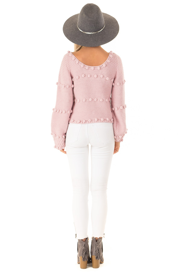 Dusty Rose Long Sleeve Sweater with Pom Pom Details back full body