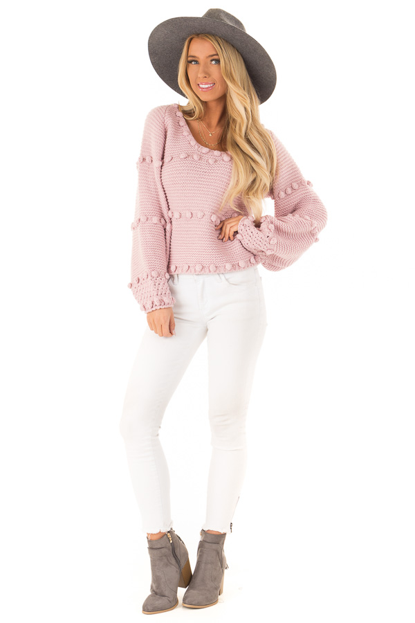 Dusty Rose Long Sleeve Sweater with Pom Pom Details front full body