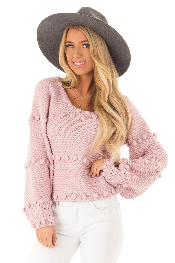 Dusty Rose Long Sleeve Sweater with Pom Pom Details front close up