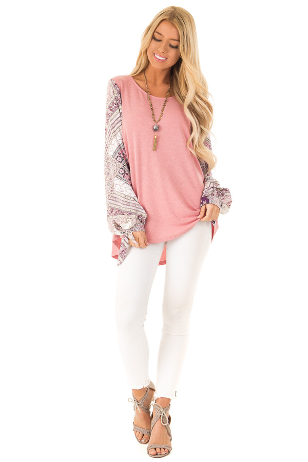 Dusty Mauve Top with Long Floral Bishop Sleeves front full body