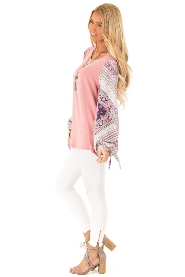 Dusty Mauve Top with Long Floral Bishop Sleeves side full body