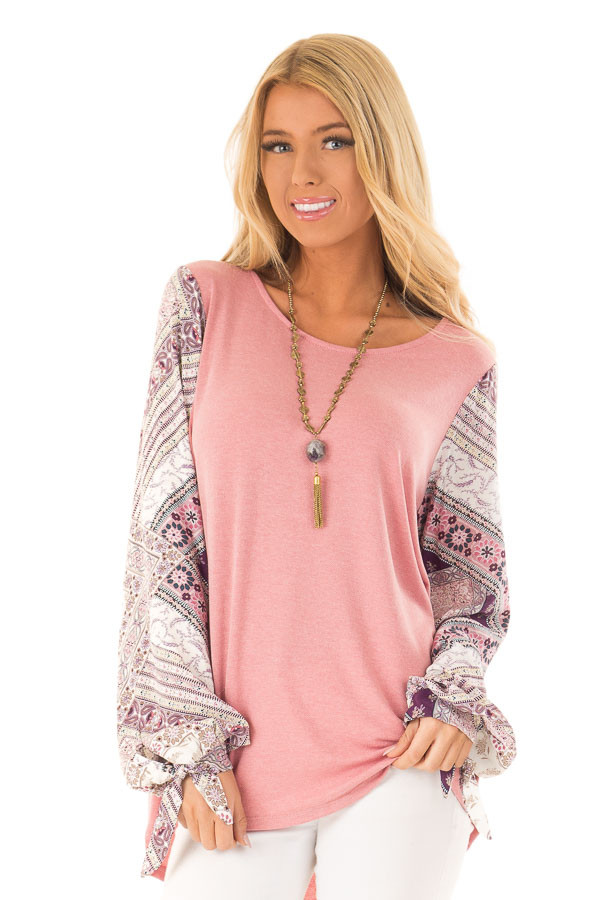 Dusty Mauve Top with Long Floral Bishop Sleeves front close up