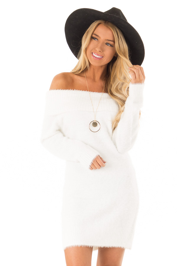 White Off the Shoulder Soft Knit Bodycon Mini Dress front close up