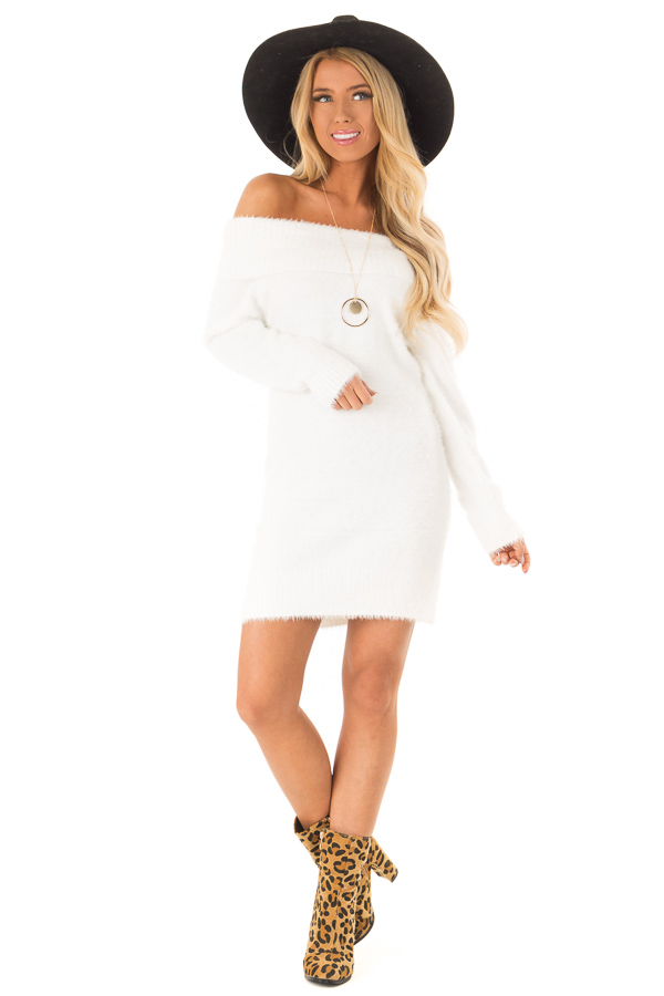 White Off the Shoulder Soft Knit Bodycon Mini Dress front full body