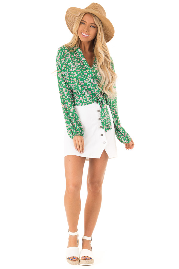 Emerald Green Floral Long Sleeve Cropped Wrap Style Blouse front full body
