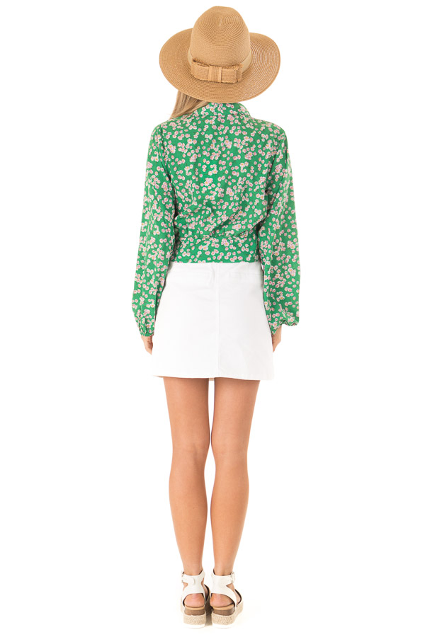 Emerald Green Floral Long Sleeve Cropped Wrap Style Blouse back full body