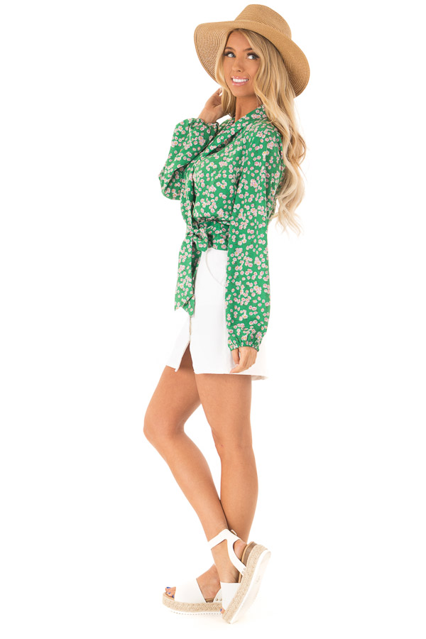 Emerald Green Floral Long Sleeve Cropped Wrap Style Blouse side full body