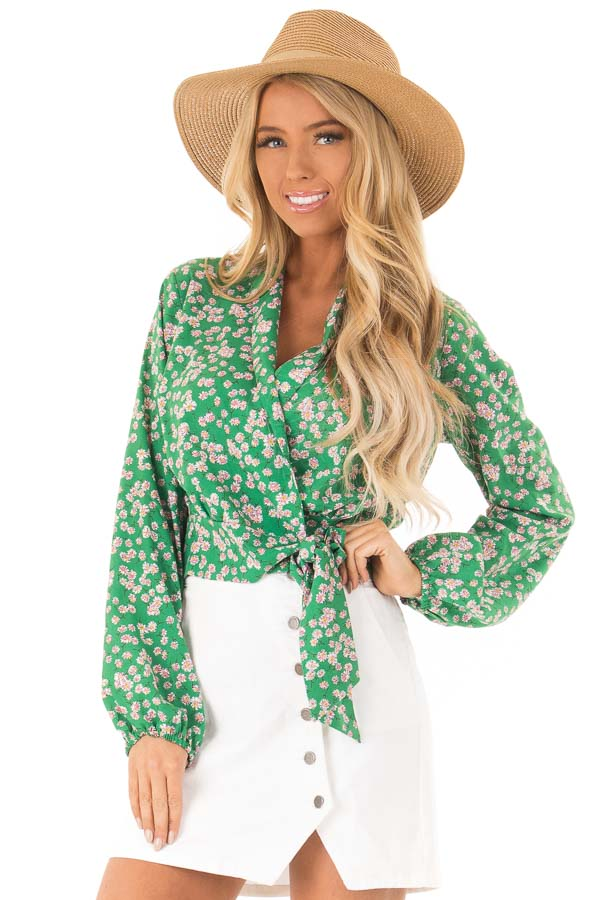 Emerald Green Floral Long Sleeve Cropped Wrap Style Blouse front close up