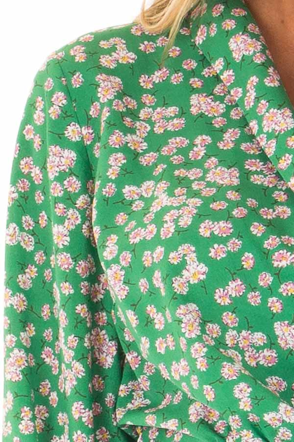Emerald Green Floral Long Sleeve Cropped Wrap Style Blouse detail