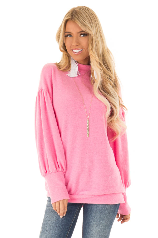 Hot Pink Mock Neck Long Balloon Sleeve Top front close up