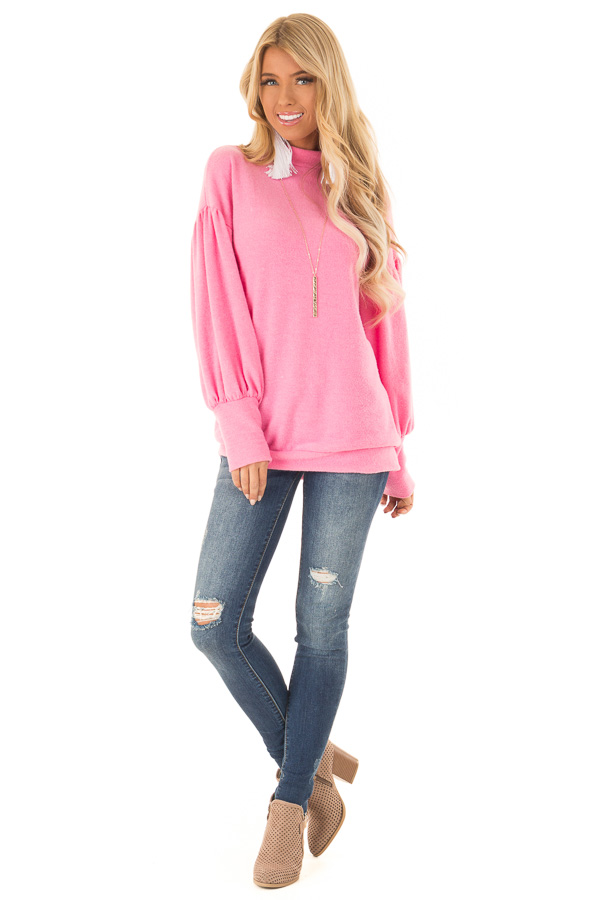 Hot Pink Mock Neck Long Balloon Sleeve Top front full body