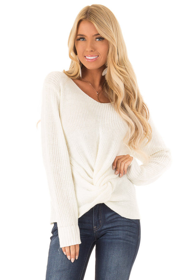 Cream Long Sleeve V Neck Knit Sweater with Front Twist front close up