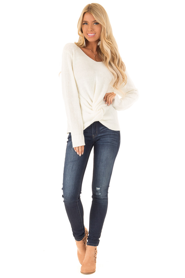 Cream Long Sleeve V Neck Knit Sweater with Front Twist front full body