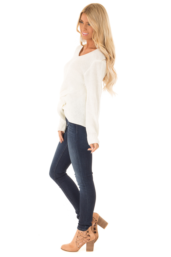 Cream Long Sleeve V Neck Knit Sweater with Front Twist side full body