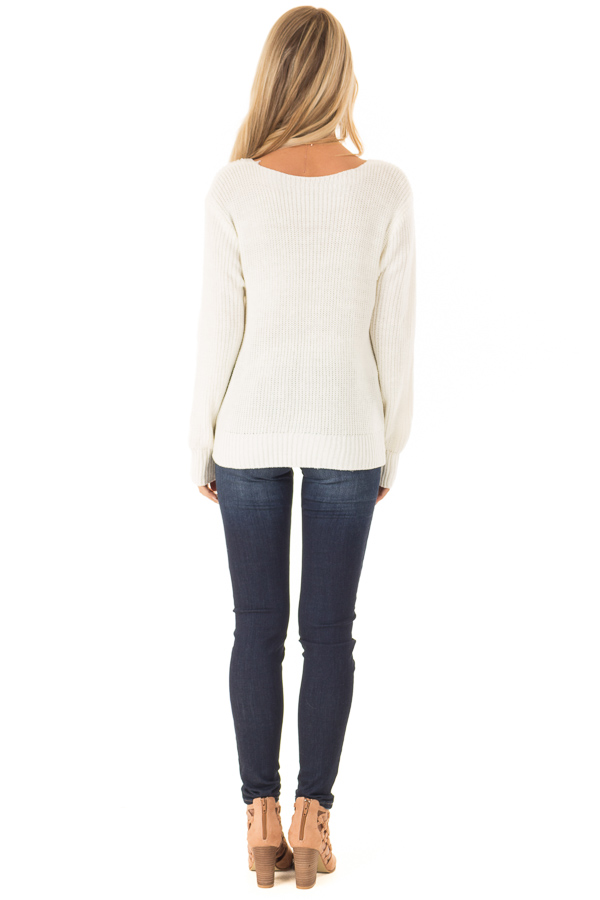 Cream Long Sleeve V Neck Knit Sweater with Front Twist back full body
