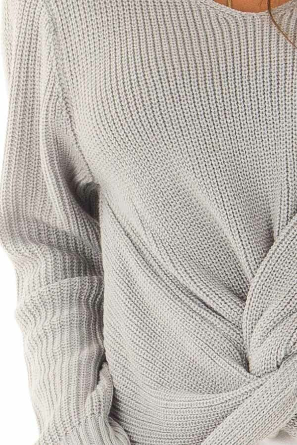 Dusty Blue Long Sleeve V Neck Knit Sweater with Front Twist detail