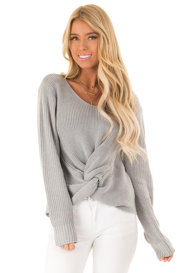 Dusty Blue Long Sleeve V Neck Knit Sweater with Front Twist close up