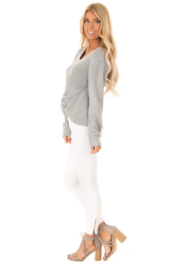 Dusty Blue Long Sleeve V Neck Knit Sweater with Front Twist side full body