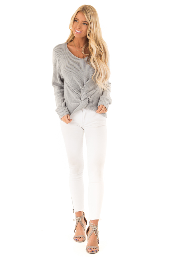 Dusty Blue Long Sleeve V Neck Knit Sweater with Front Twist front full body
