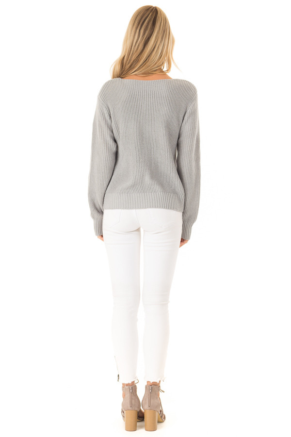 a927418c67dddc ... Dusty Blue Long Sleeve V Neck Knit Sweater with Front Twist back full  body ...