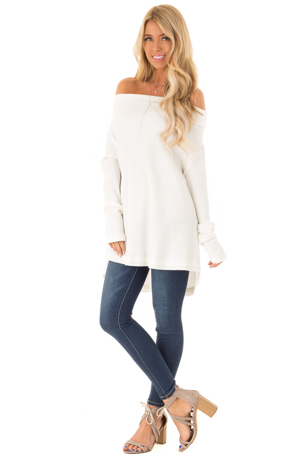 545bad6eefd74 ... Ivory Waffle Knit Off the Shoulder Long Sleeve Top front full body ...