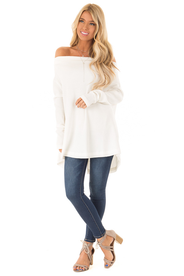 ac9a4540c80dd Ivory Waffle Knit Off the Shoulder Long Sleeve Top - Lime Lush Boutique