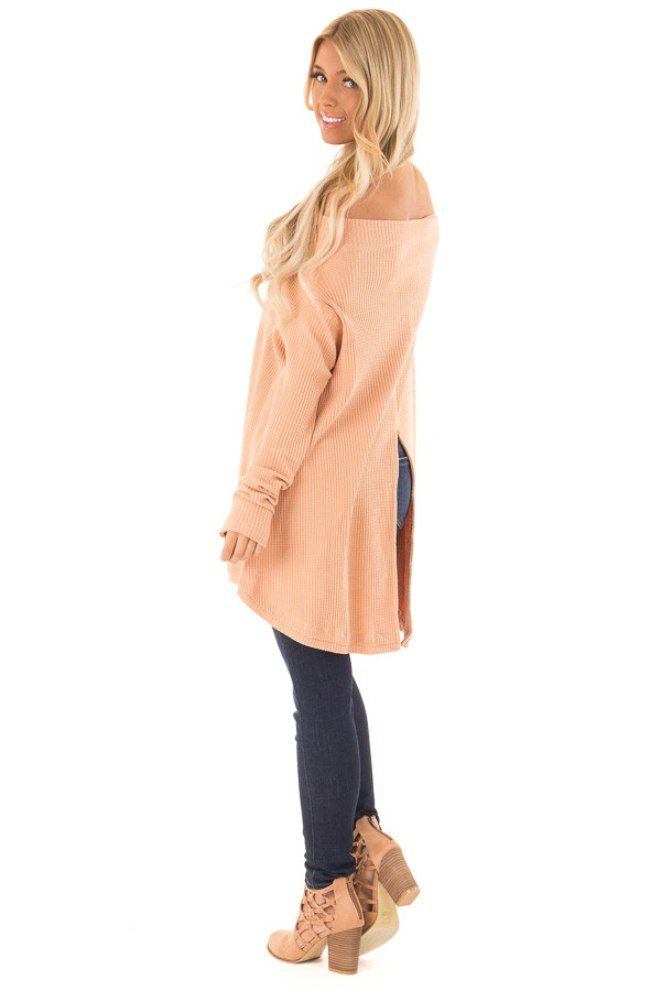 Dusty Peach Waffle Knit Off the Shoulder Long Sleeve Top side full body
