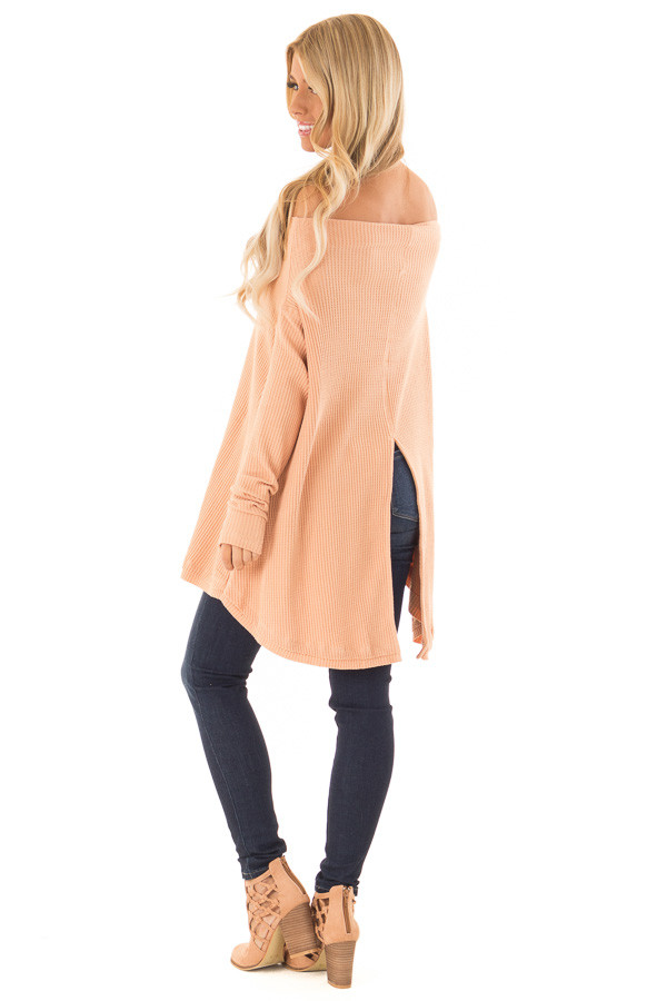 Dusty Peach Waffle Knit Off the Shoulder Long Sleeve Top back side full body