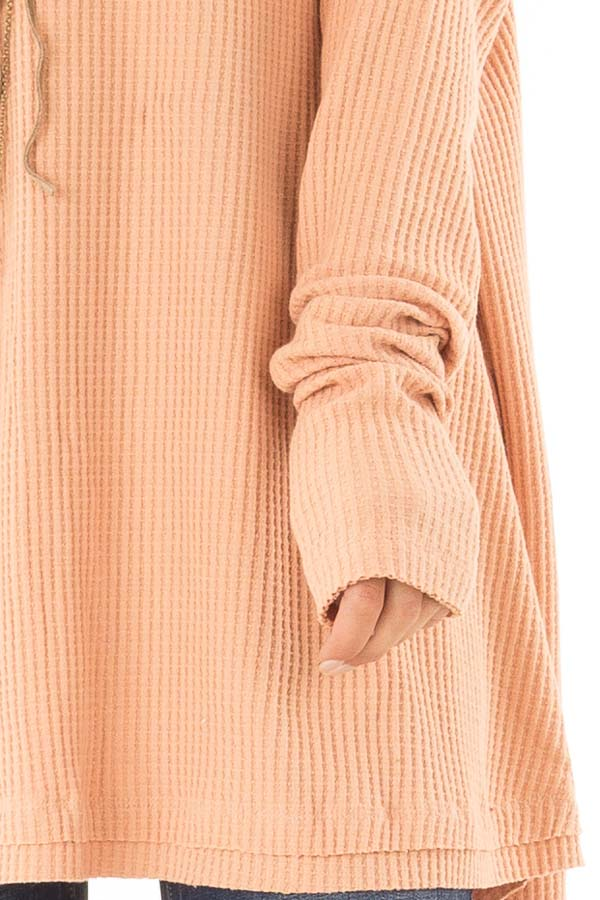Dusty Peach Waffle Knit Off the Shoulder Long Sleeve Top detail