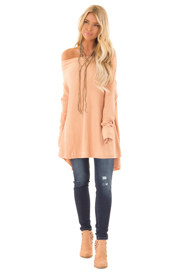 Dusty Peach Waffle Knit Off the Shoulder Long Sleeve Top front full body