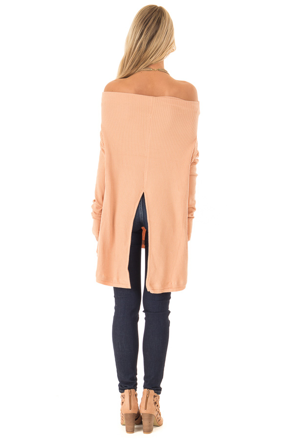 Dusty Peach Waffle Knit Off the Shoulder Long Sleeve Top back full body