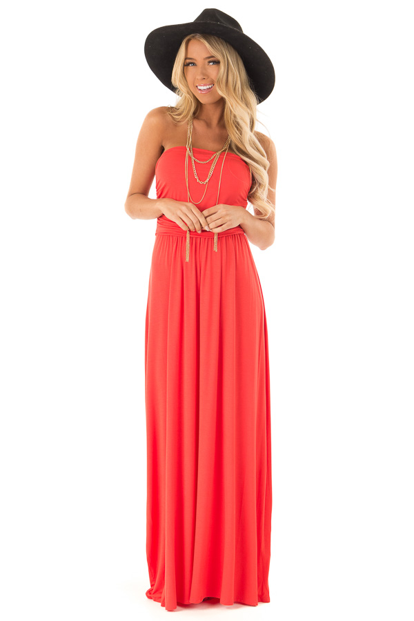 Coral Sleeveless Maxi Dress with Ruching front full body