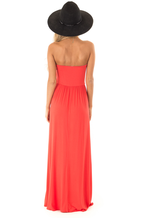 Coral Sleeveless Maxi Dress with Ruching back full body