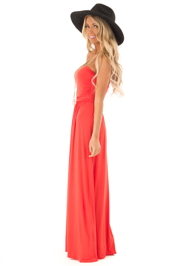 Coral Sleeveless Maxi Dress with Ruching side full body