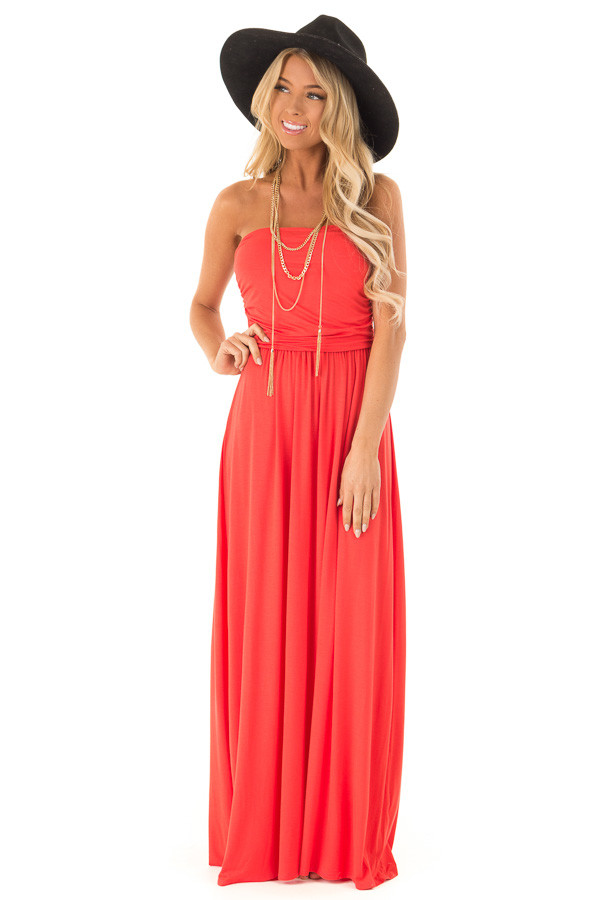 d3a82d9abe Coral Sleeveless Maxi Dress with Ruching - Lime Lush Boutique