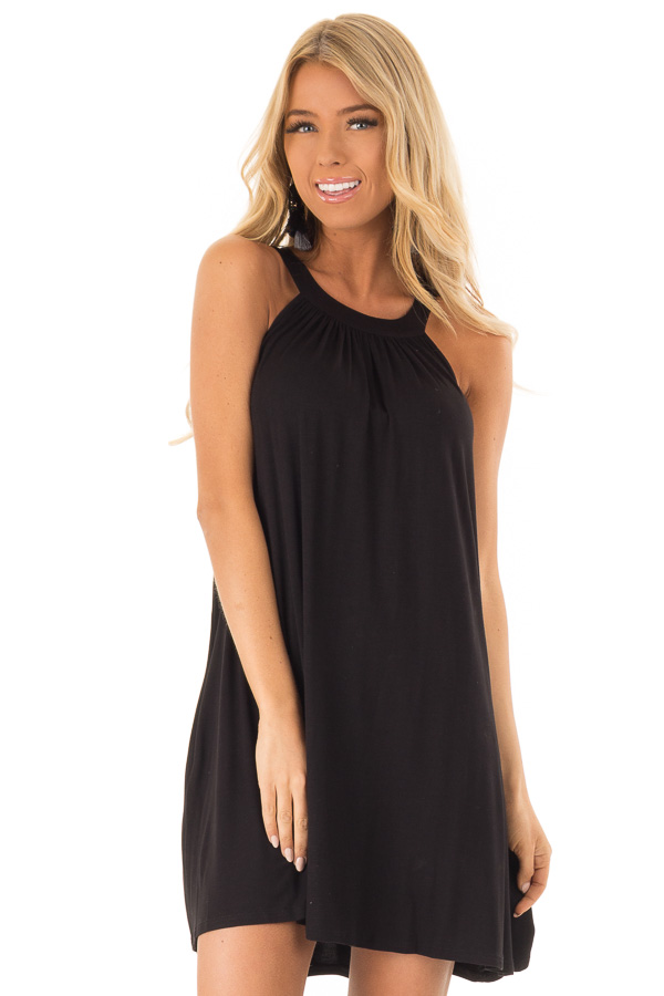Midnight Black Solid Halter Mini Dress with Side Pockets front close up