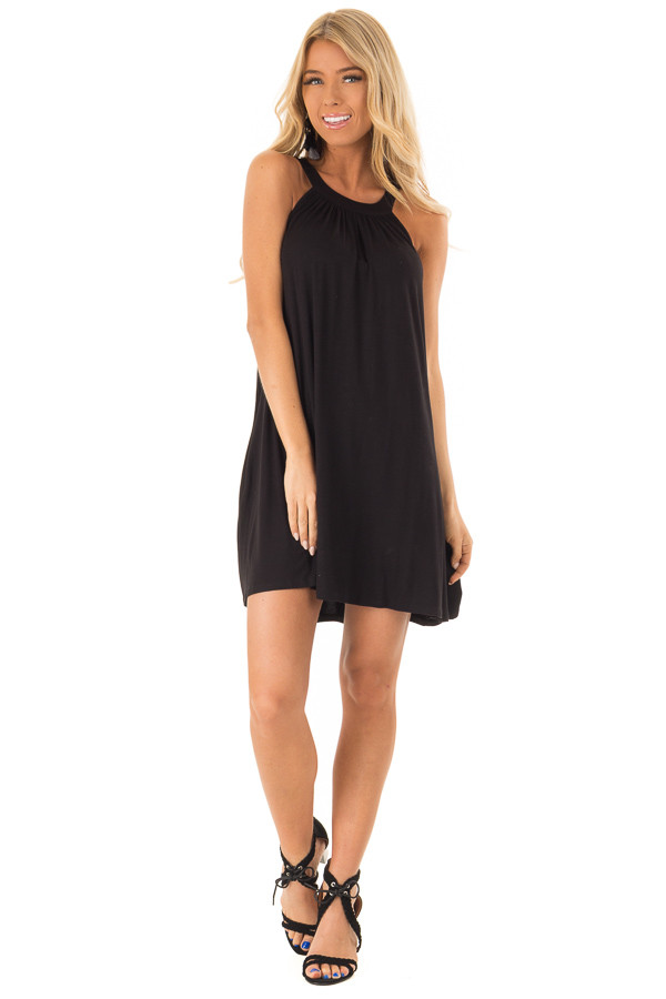 Midnight Black Solid Halter Mini Dress with Side Pockets front full body