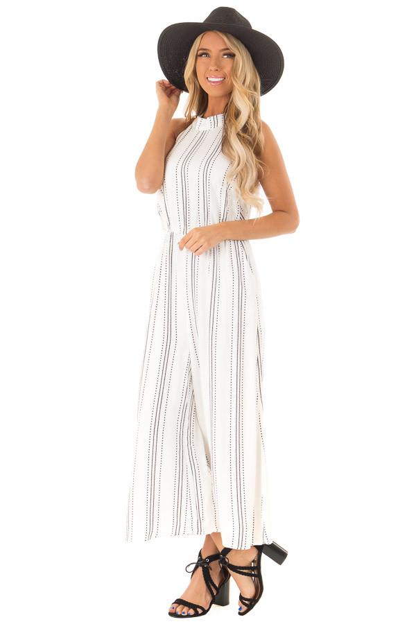 White and Black Diamond Striped High Neck Jumpsuit front full body