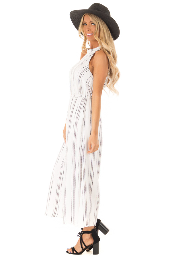 White and Black Diamond Striped High Neck Jumpsuit side full body