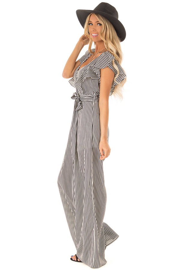 Black and Off White Striped Jumpsuit with Front Tie Detail side full body