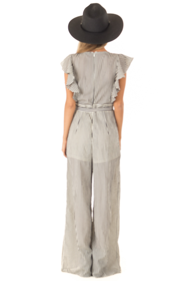 Black and Off White Striped Jumpsuit with Front Tie Detail back full body