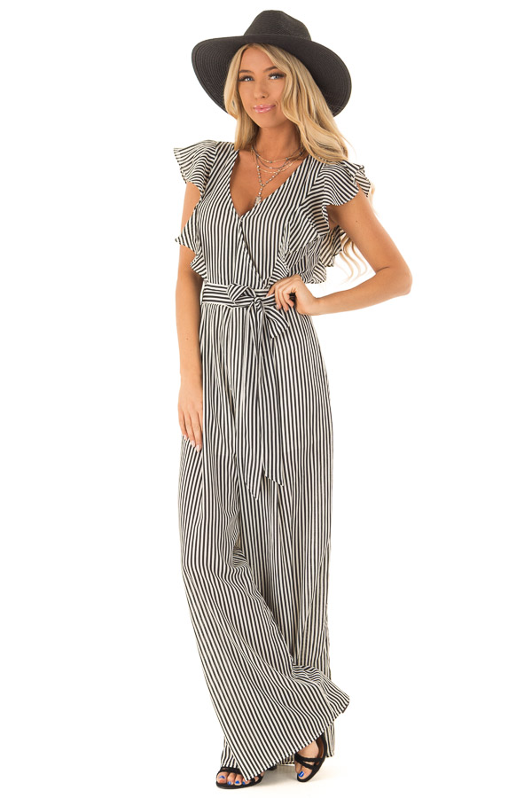 Black and Off White Striped Jumpsuit with Front Tie Detail