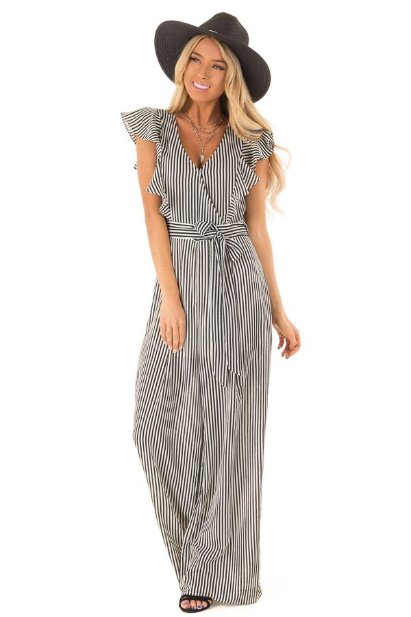 Black and Off White Striped Jumpsuit with Front Tie Detail front full body