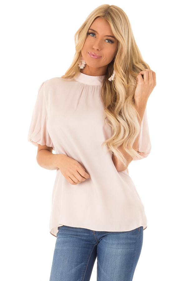 Blush Mock Neck Short Sleeve Blouse with Back Keyhole front close up