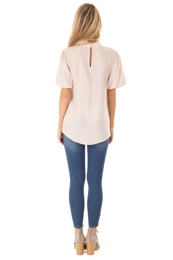 Blush Mock Neck Short Sleeve Blouse with Back Keyhole back full body