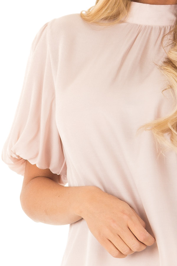Blush Mock Neck Short Sleeve Blouse with Back Keyhole detail