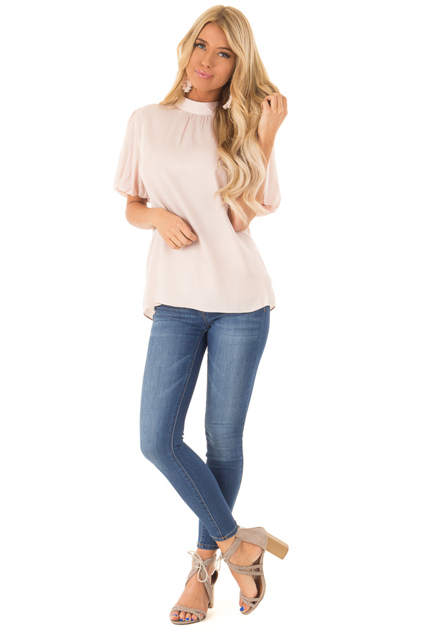 Blush Mock Neck Short Sleeve Blouse with Back Keyhole front full body